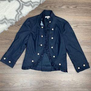 John Paul Richard Navy Ruffle Jacket Size Medium